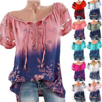 Fashion Women Loose Short Sleeve V-Neck Lace Floral Summer T Shirt Tops Blouse