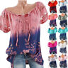 Plus Size Women Loose Short Sleeve V-Neck Lace Floral Summer T Shirt Tops Blouse