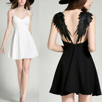Womens Plunge V Neck Angel Wings Open Back Evening Party Mini Dress