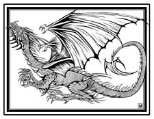Coloring Page - Dragon # 1 -GROON (Hi-Res JPG file will be sent by email)