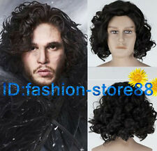 Game of Thrones Jon Snow Short Black Curly Wig Synthetic Cosplay Anime Wigs