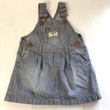 Oshkosh B'gosh Girl's 25M Denim Striped Blue Jeans Overalls Jumper Skirt Dress
