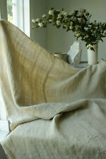 Antique dark hemp European sheet TEXTURAL natural fabric circa 1900 center seam