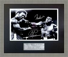 MUHAMMAD ALI V GEORGE FOREMAN 'RUMBLE IN THE JUNGLE' Boxing Framed Signed Photo