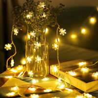 50 LED Christmas Fairy String Lights Garden Outdoor Snowflake Xmas Party Lamps