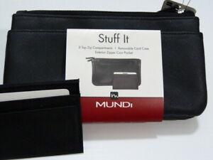 """NWT* Mundi """"stuff it"""" wallet black w/3 compartments + small CC wallet"""