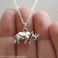 Rhino Charm Necklace - 925 Sterling Silver - 3D Rhinoceros Safari Zoo Animal NEW