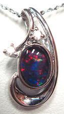 Australian Natural Black Triplet Opal Pendant Solid Silver Set 5.44cts 7x5mm