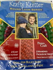 Knifty Knitter By Provo Craft 4 Piece Round Loom Set w. Tool and Instructions