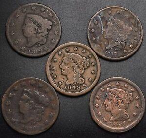 5 Pcs Large 1c 1819, 1830,1837,1848, 1851 (Cent) 1851 Scratched