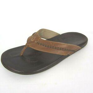Olukai Mens Mea Ola Tan Brown Leather Thong Flip Flops Sandals US 12 M EU 45