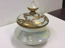 Victorian ladies' boudoir trinket jar with opalescent finish