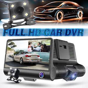 "4"" HD 1080P Dual Lens Car DVR Rearview Video Dash Cam Recorder Camera G-sensor"