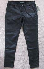 $135 Ralph Lauren Coated Skinny Leather-like Look Black Jeans Women's Sz 14 New!