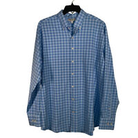 Peter Millar Summer Comfort Blue Mens Dress Shirt 100% Poyester Size XL