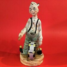 """CLOWN FIGURINE PLAYING DRUM HAND DECORATED 8 1/4""""H VINTAGE PRICE PRODUCTS"""