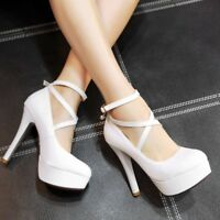 Womens Slim High Heels Platform Solid Pumps Ankle Cross Strap Round Toe Shoes