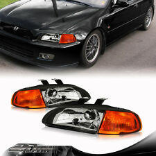 92-95 Honda Civic 2/3DR JDM 2 IN 1 Black Housing Headlights + Corner Light Lamps