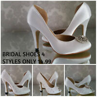 Ladies Vintage Satin Crystal Bridal Wedding Shoes Bridesmaid Prom High Heel