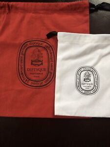 NEW Diptyque Red and White Dust Bags! Cotton Draw Strings COOL BAGS! Low Price!