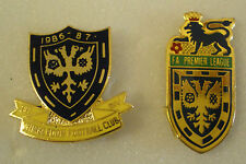 WIMBLEDON FOOTBALL CLUB 2 x Pin Badges 1986-87 1st DIV & F.A. PREMIER LEAGUE