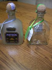 2 Patron Tequila Glass 750 ML Bottles//Silver & XO Cafe/Empty