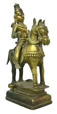 Vintage Antique Brass Indian Lord Horse Riding Sculpture Collectible Statue Idol