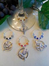 Inspired by Hunger Games  4 New Wine Glass Charm Set, Holiday Gift Packaged