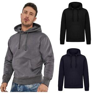 Mens Hoodie Pullover Hooded Sweatshirt Fleece Hoody Plain Heavy Work Top BIGSIZE