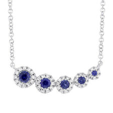 Womens 14K White Gold Natural Blue Sapphire Diamond Pendant Necklace Curved Bar