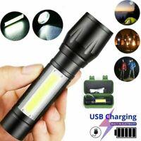 Lampe torche à main de poche puissante forte rechargeable sur USB COB XPE Neuf