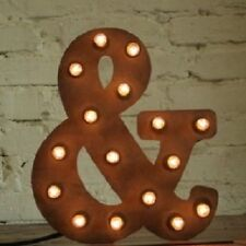 NEW Vintage Lights LED Marquee Style Ampersand Metal Table Lamp Wall Hanging