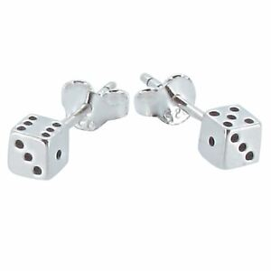 Sterling Silver Lucky Dice Design Stud Earrings by Touch Jewellery - 925