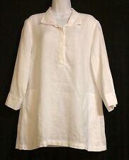 Women's PAPERWHITE Super Soft White Linen Tunic Blouse Lagen Look Top ~ SZ 12