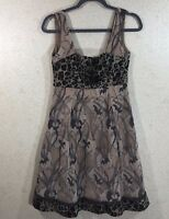Save the Queen Women's Size S Sleeveless Tea Dress Animal Print Lace Brown