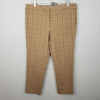 NWT J Jill Womens sz 14 Quinn Ankle Pants tan Plaid straight leg stretchy slacks