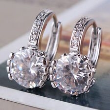 HUCHE Stunning Diamond White Topaz Crystal Silver Women Hoop Lady Earrings Studs
