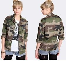 Vintage Army Jacket Ladies Military Retro Camouflage &Redyed French F2 Size 8-18
