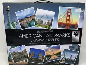 7 In 1 American Landmarks Jigsaw Puzzles Pack 1x 1,000, 2x 750, 4x 500Pieces