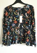M&S PER UNA Long sleeve Oriental Floral Print Top SIZE 6