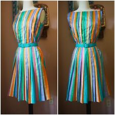 Vintage 50s Jerry Gilden Rainbow Pleated Colorful Dress Casual Belted XS S