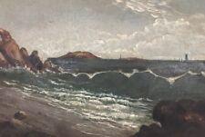 Early 19thC Framed Oil Painting - Ocean Beach Scene Gorgeous No Reserve