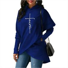 Womens T shirt Casual Long Sleeve Faith Letter Printed Hoodie Sweatshirt Pocket