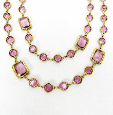 Auth CHANEL Vintage Lavender Crystal Chicklet Gold Plated Necklace Sautoir MINT