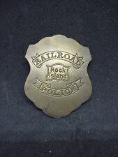 Rock Island Railroad Police RR SOLID BRASS w/Antique Finish BADGE PIN 172