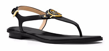 Michael Kors Lee Thong Black Ankle Strap Buckle Sandal Women's sizes 6,9,11 NIB