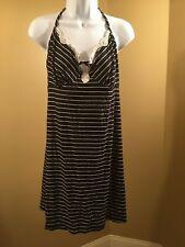 George women's v neck chemise with lace single stripe black L