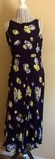 NY & CO Women's Dress Size 12 Sleeveless Blue Floral Mid Calf Work