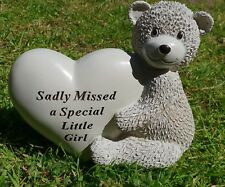 Grave Ornament Baby Little Girl Tribute Memorial Remembrance Teddy Plaque