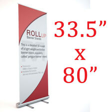 "Aluminum 33.5""x80"" Retractable Roll Up Banner Stand w/Banner Trade show display"